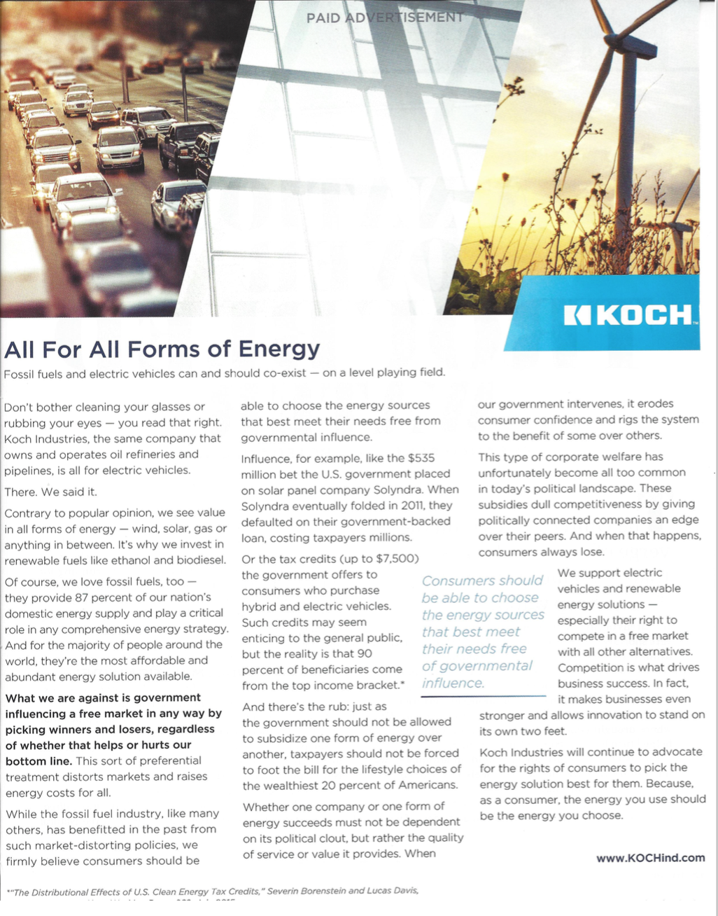 Koch Industries Electric Vehicle Advertorial The Hill